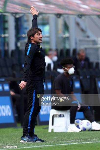Antonio Conte, head coach of FC Internazionale gestures during the Serie A match between FC Internazionale Milano and Udinese Calcio at Stadio...