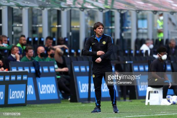 Antonio Conte, head coach of Fc Internazionale, looks on during the Serie A match between Fc Internazionale and Udinese Calcio. Fc Internazionale...