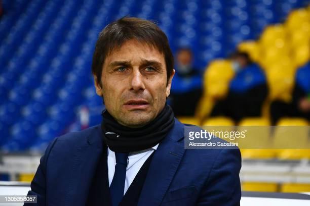 Antonio Conte, Head Coach of FC Internazionale looks on prior to the Serie A match between Parma Calcio and FC Internazionale at Stadio Ennio Tardini...