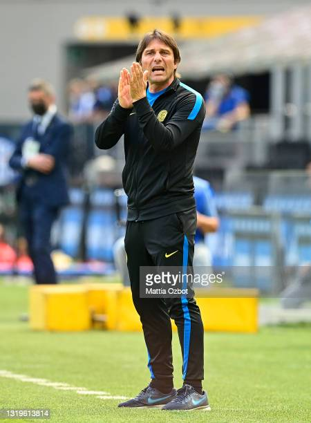 Antonio Conte, Head Coach of FC Internazionale reacts during the Serie A match between FC Internazionale Milano and Udinese Calcio at Stadio Giuseppe...