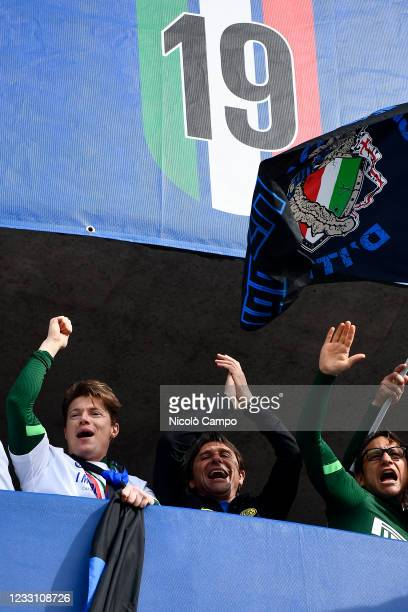 Antonio Conte, head coach of FC Internazionale, smiles during the celebration on tower four of the stadium after the Serie A football match between...