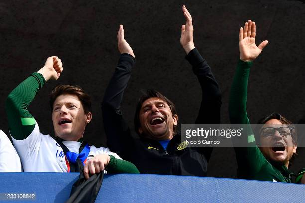Antonio Conte , head coach of FC Internazionale, smiles during the celebration on tower four of the stadium after the Serie A football match between...