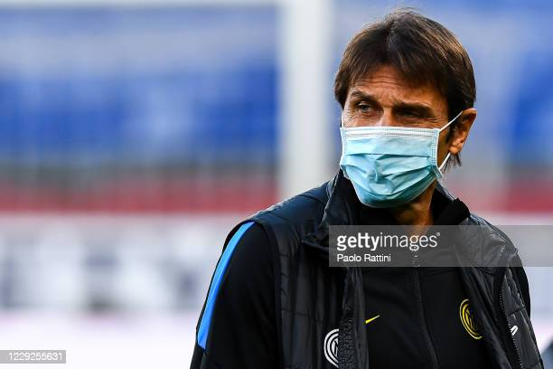 Antonio Conte head coach of Inter looks on before the Serie A match between Genoa CFC and Fc Internazionale at Stadio Luigi Ferraris on September 20...