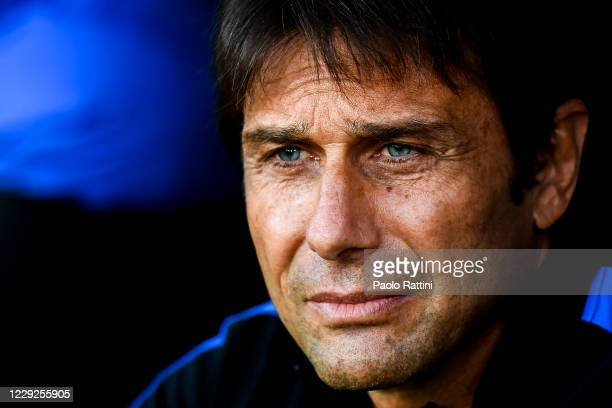 Antonio Conte head coach of Inter looks on before the Serie A match between Genoa CFC and Fc Internazionale at Stadio Luigi Ferraris on September 20,...