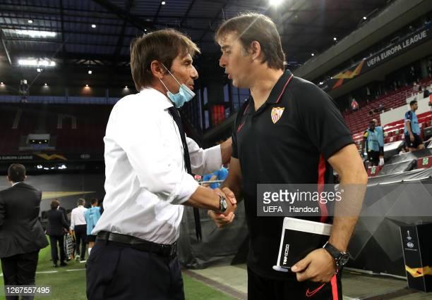 Antonio Conte, Head Coach of Inter Milan shakes hands with Julen Lopetegui, Head Coach of Sevilla prior to the UEFA Europa League Final between...