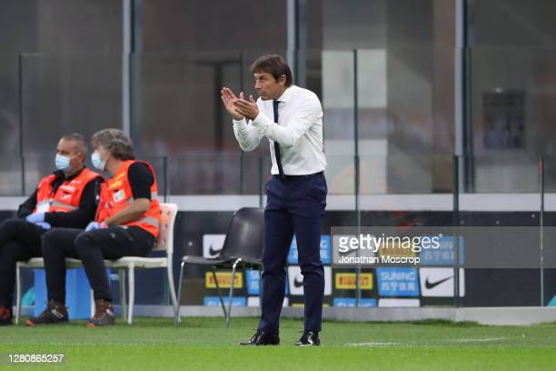 Antonio Conte Head coach of Internazionale reacts during the Serie A match between FC Internazionale and AC Milan at Stadio Giuseppe Meazza on...