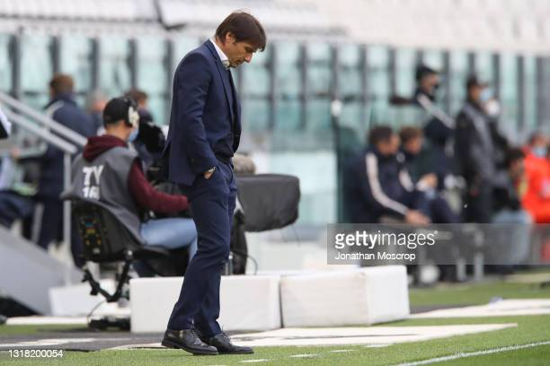 Antonio Conte Head coach of Internazionale reacts during the Serie A match between Juventus and FC Internazionale at Allianz Stadium on May 15, 2021...