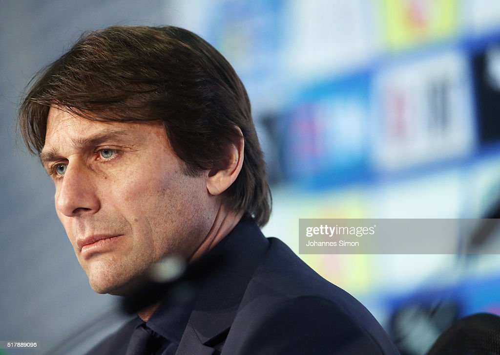 Antonio Conte, head coach of Italy addresses the media ahead of the international friendly match between Germany and Italy at Allianz Arena on March 28, 2016 in Munich, Germany.
