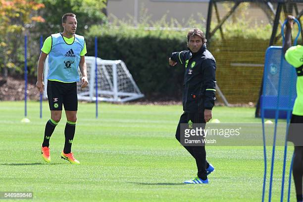 Antonio Conte John Terry at Chelsea Training Ground on July 13 2016 in Cobham England