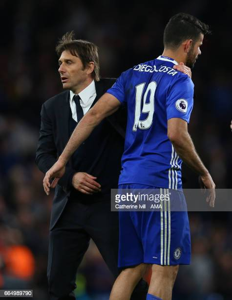 Antonio Conte manager / head coach of Chelsea and Diego Costa of Chelsea after the Premier League match between Chelsea and Manchester City at...
