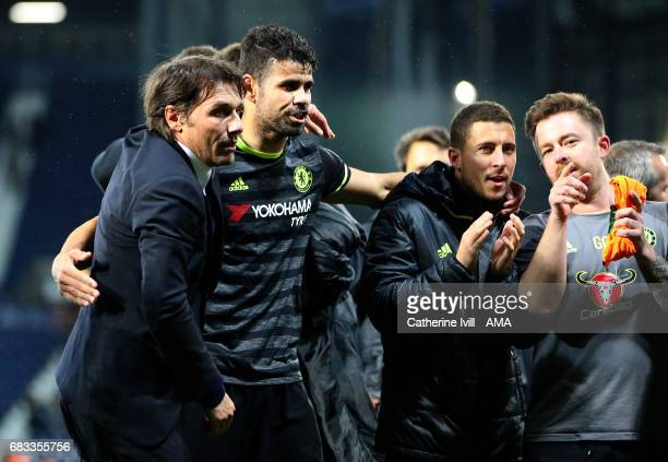 Antonio Conte manager / head coach of Chelsea and Diego Costa of Chelsea during the Premier League match between West Bromwich Albion and Chelsea at...
