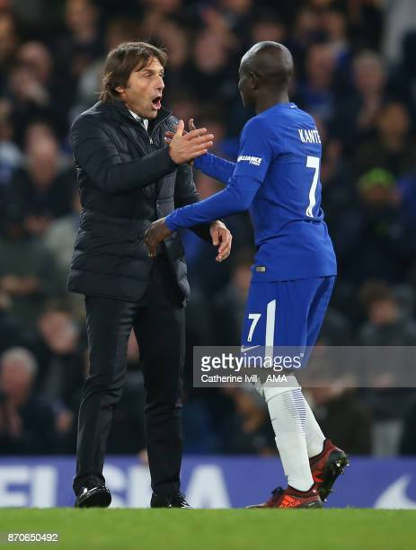 Antonio Conte manager / head coach of Chelsea and N'Golo Kante of Chelsea during the Premier League match between Chelsea and Manchester United at...