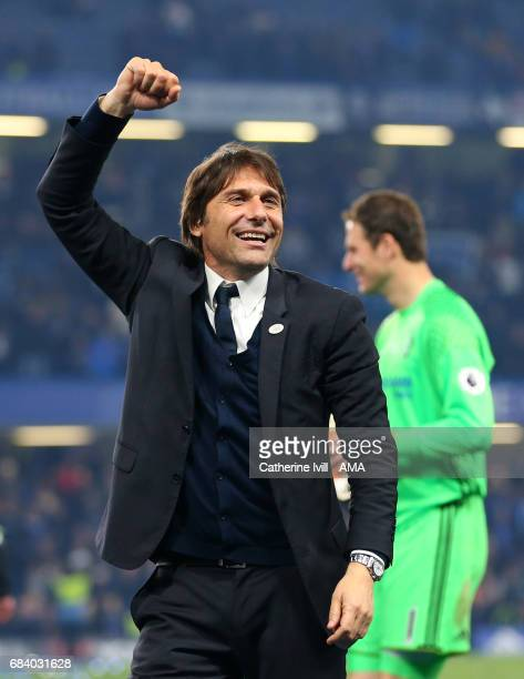 Antonio Conte manager / head coach of Chelsea celebrates during the Premier League match between Chelsea and Watford at Stamford Bridge on May 15...