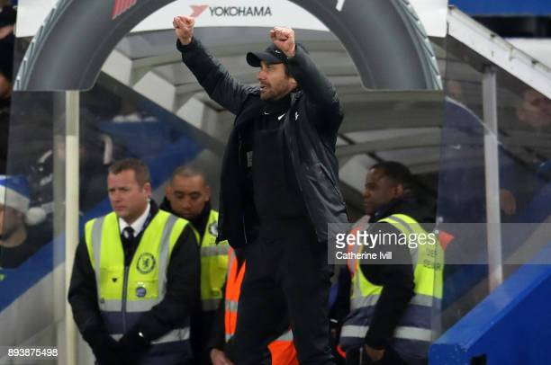 Antonio Conte manager / head coach of Chelsea celebrates during the Premier League match between Chelsea and Southampton at Stamford Bridge on...