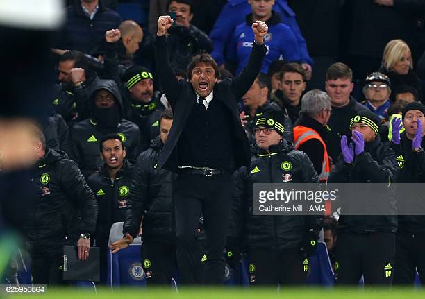 Antonio Conte manager / head coach of Chelsea celebrates the win on the final whistle at the Premier League match between Chelsea and Tottenham...