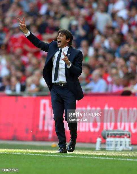 Antonio Conte manager / head coach of Chelsea during The Emirates FA Cup Final between Chelsea and Manchester United at Wembley Stadium on May 19...