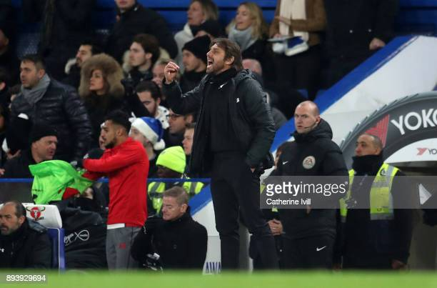 Antonio Conte manager / head coach of Chelsea during the Premier League match between Chelsea and Southampton at Stamford Bridge on December 16 2017...