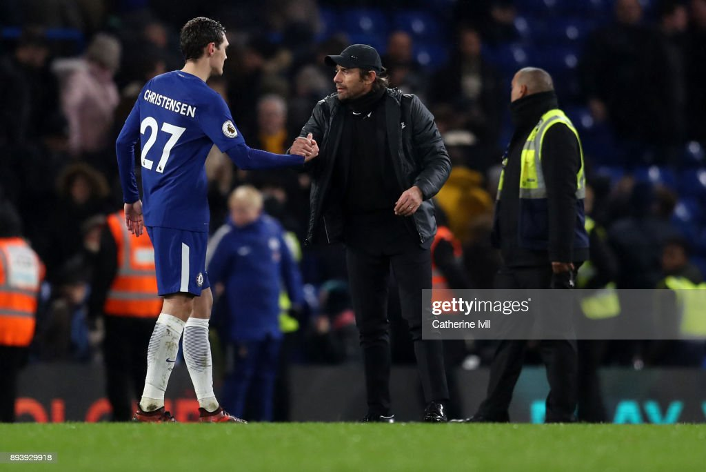 Antonio Conte manager / head coach of Chelsea with Andreas Christensen of Chelsea during the Premier League match between Chelsea and Southampton at Stamford Bridge on December 16, 2017 in London, England.