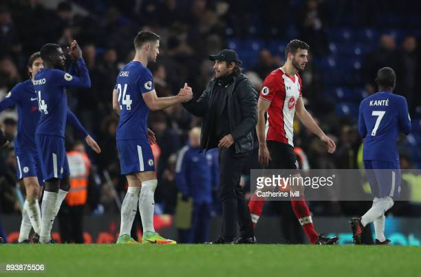 Antonio Conte manager / head coach of Chelsea with Gary Cahill of Chelsea during the Premier League match between Chelsea and Southampton at Stamford...