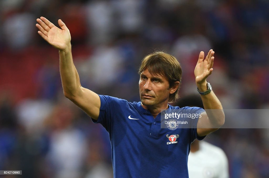 Antonio Conte, Manager of Chelsea acknowledges the fans after the International Champions Cup match between FC Internazionale and Chelsea FC at National Stadium on July 29, 2017 in Singapore.