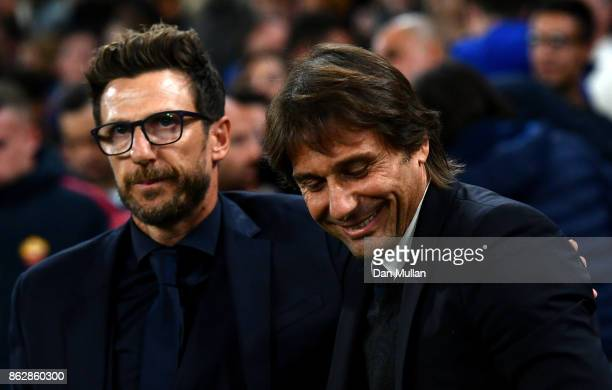 Antonio Conte Manager of Chelsea and Eusebio Di Francesco Manager of of AS Roma greet each other prior to the UEFA Champions League group C match...