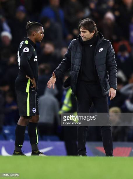 Antonio Conte Manager of Chelsea and Jose Izquierdo of Brighton and Hove Albion shake hands after the Premier League match between Chelsea and...