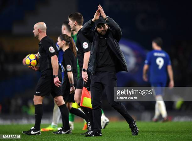 Antonio Conte Manager of Chelsea applauds the fans after the Premier League match between Chelsea and Southampton at Stamford Bridge on December 16...