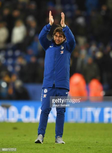 Antonio Conte manager of Chelsea applauds the travelling fans after The Emirates FA Cup Quarter Final match between Leicester City and Chelsea at The...