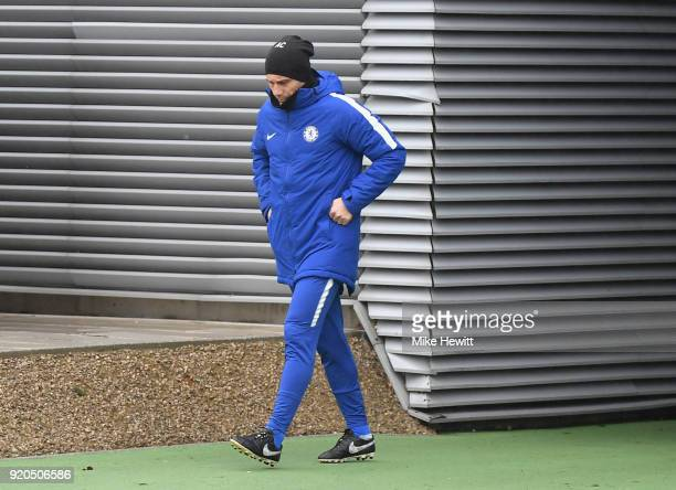 Antonio Conte Manager of Chelsea arrives ahead of a training session at Chelsea Training Ground on February 19 2018 in Cobham England