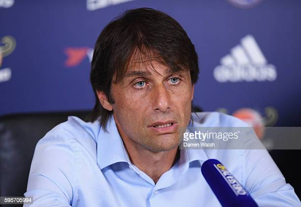 Antonio Conte Manager of Chelsea attends a press conference at the Chelsea Training Ground on August 26 2016 in Cobham England