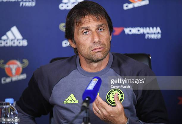 Antonio Conte manager of Chelsea attends a press conference at the Chelsea Training Ground on September 9 2016 in Cobham England