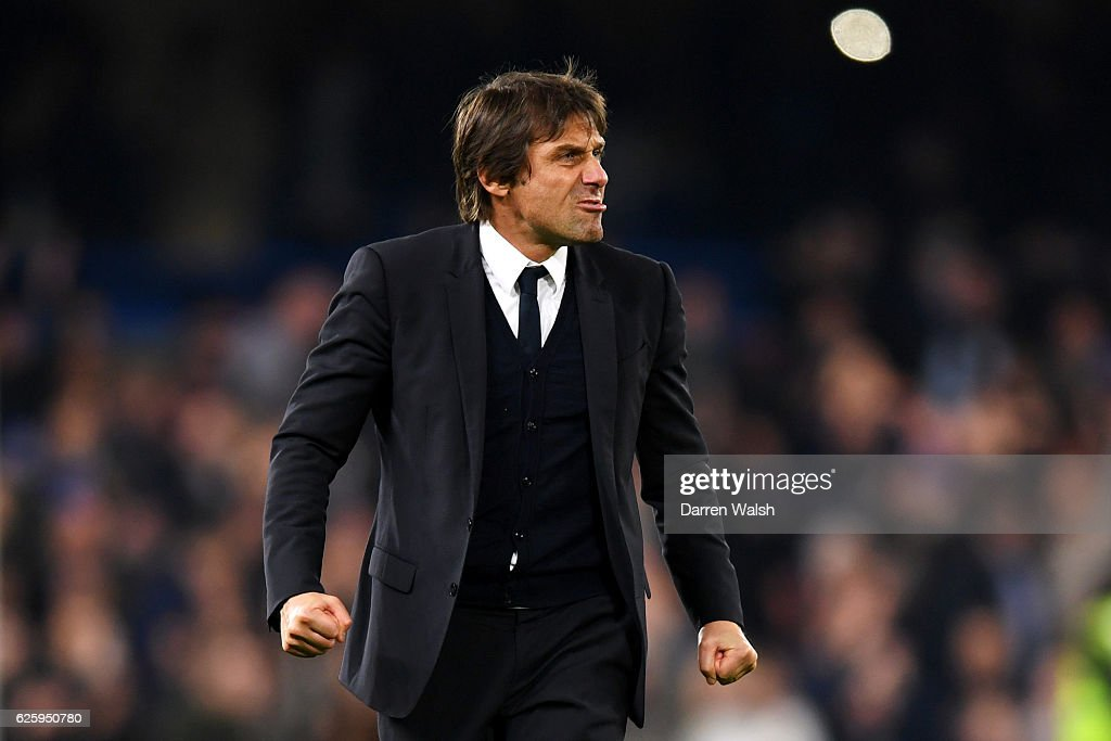 Antonio Conte, Manager of Chelsea celebrates after his team's 2-1 win in the Premier League match between Chelsea and Tottenham Hotspur at Stamford Bridge on November 26, 2016 in London, England.