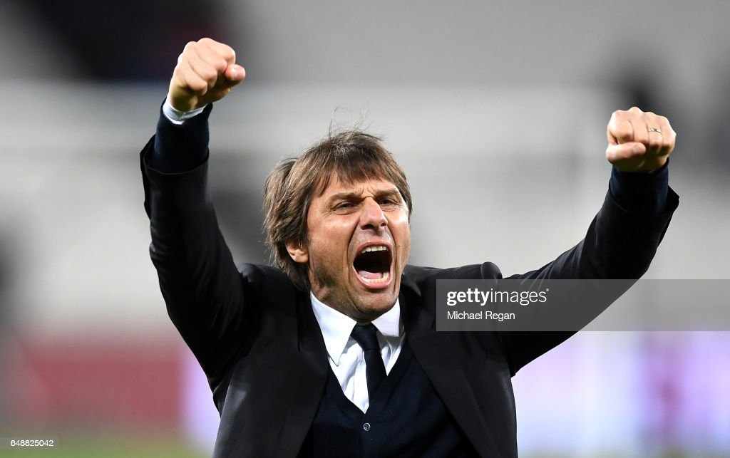 Antonio Conte, Manager of Chelsea celebrates after the full time whistle following victory in the Premier League match between West Ham United and Chelsea at London Stadium on March 6, 2017 in Stratford, England.