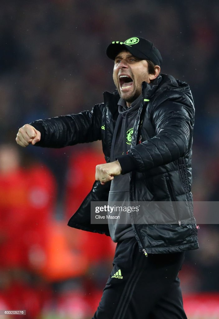 Antonio Conte, Manager of Chelsea celebrates after the Premier League match between Liverpool and Chelsea at Anfield on January 31, 2017 in Liverpool, England.