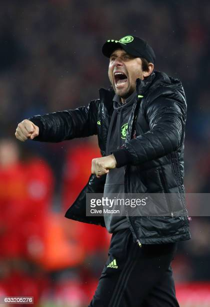 Antonio Conte Manager of Chelsea celebrates after the Premier League match between Liverpool and Chelsea at Anfield on January 31 2017 in Liverpool...