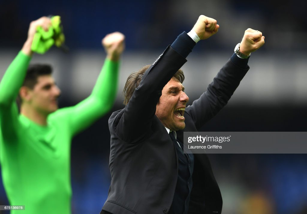Antonio Conte, Manager of Chelsea celebrates after the Premier League match between Everton and Chelsea at Goodison Park on April 30, 2017 in Liverpool, England.