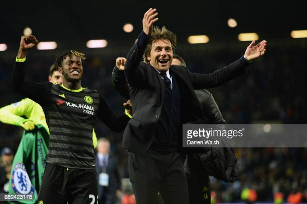 Antonio Conte Manager of Chelsea celebrates after the Premier League match between West Bromwich Albion and Chelsea at The Hawthorns on May 12 2017...