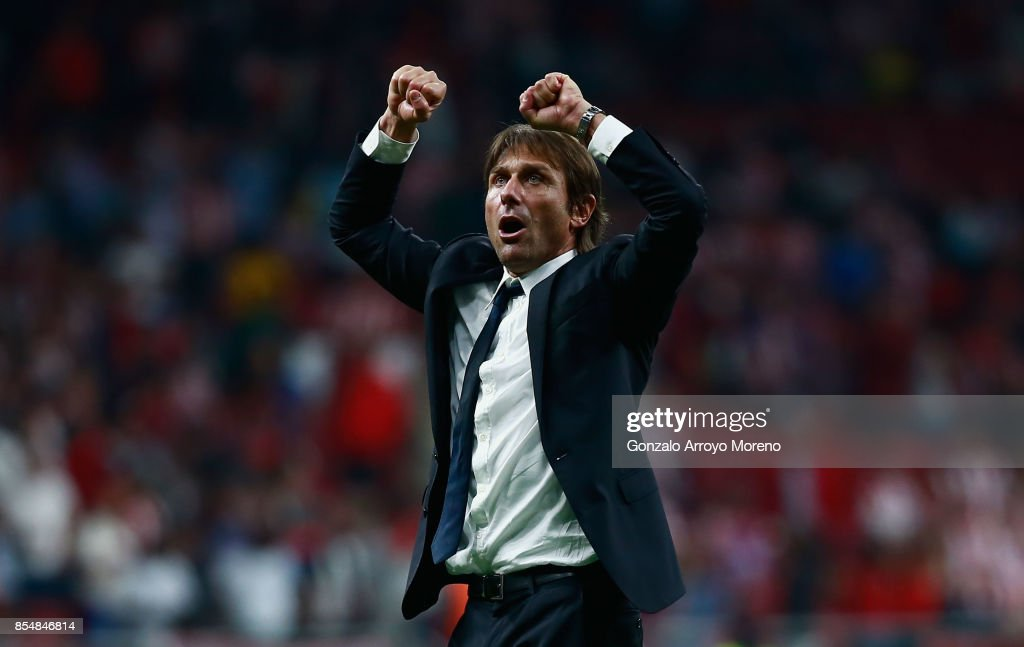 Antonio Conte, Manager of Chelsea celebrates after winning the UEFA Champions League group C match between Atletico Madrid and Chelsea FC at Estadio Wanda Metropolitano on September 27, 2017 in Madrid, Spain.