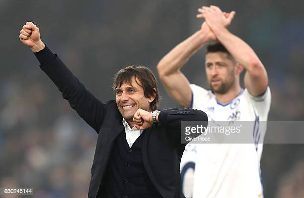Antonio Conte Manager of Chelsea celebrates his sides win after the game during the Premier League match between Crystal Palace and Chelsea at...