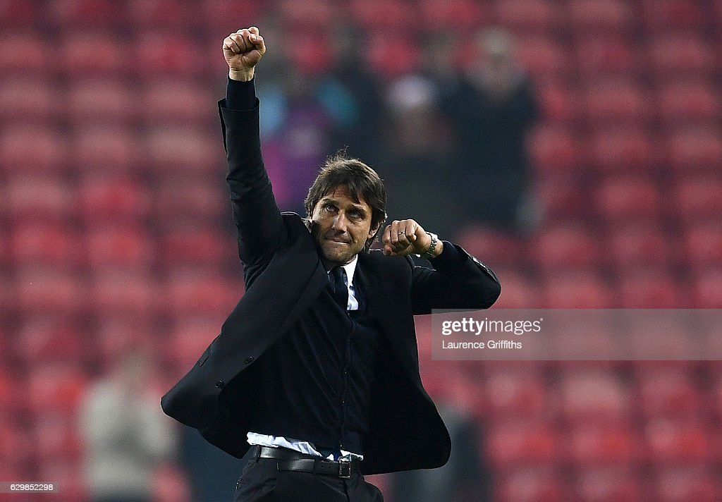 Antonio Conte, Manager of Chelsea celebrates his team's 1-0 win after the Premier League match between Sunderland and Chelsea at Stadium of Light on December 14, 2016 in Sunderland, England.