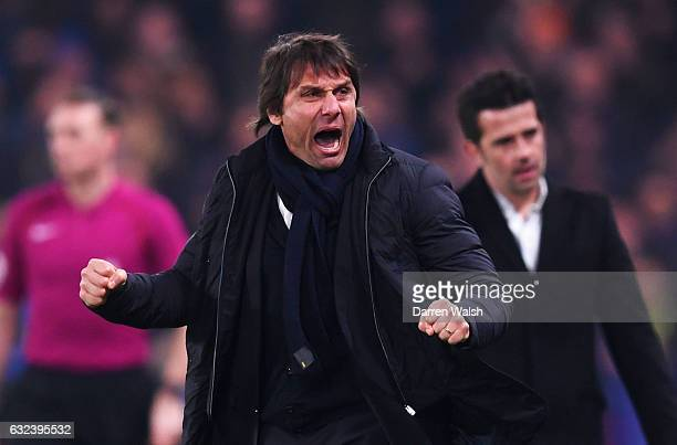 Antonio Conte Manager of Chelsea celebrates his team's first goal during the Premier League match between Chelsea and Hull City at Stamford Bridge on...