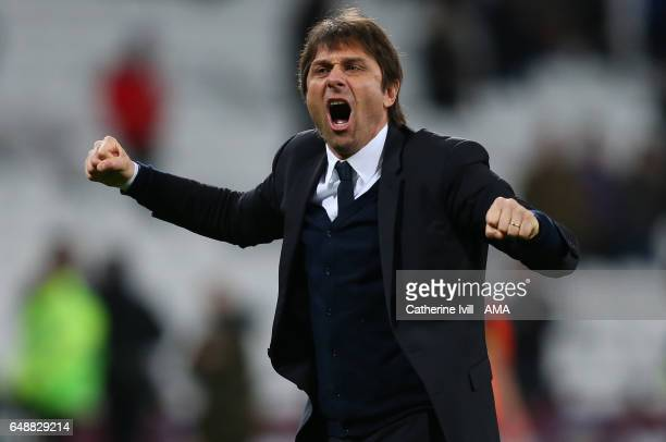 Antonio Conte manager of Chelsea celebrates the win after the Premier League match between West Ham United and Chelsea at London Stadium on March 6...