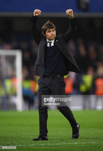 Antonio Conte manager of Chelsea celebrates victory after The Emirates FA Cup QuarterFinal match between Chelsea and Manchester United at Stamford...