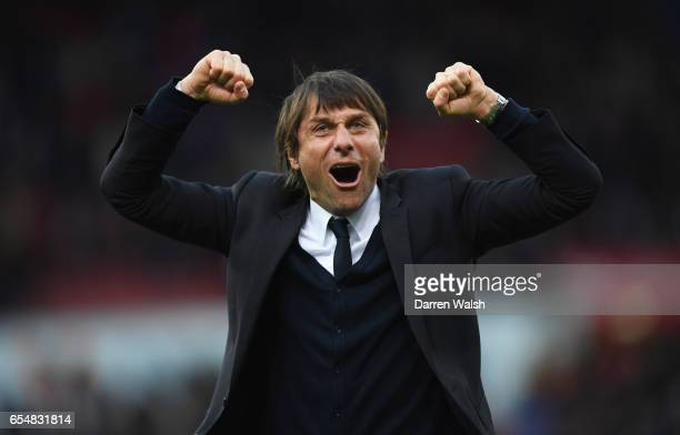 Antonio Conte manager of Chelsea celebrates victory after the Premier League match between Stoke City and Chelsea at Bet365 Stadium on March 18 2017...