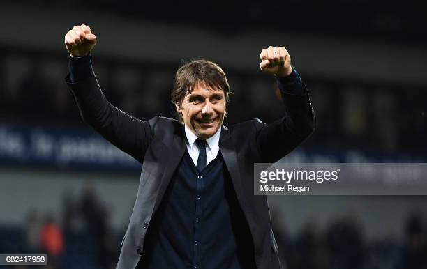 Antonio Conte Manager of Chelsea celebrates winning the league after the Premier League match between West Bromwich Albion and Chelsea at The...