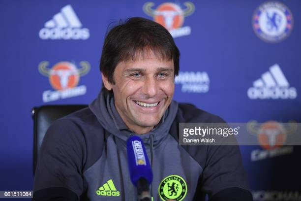 Antonio Conte manager of Chelsea during a press conference at Chelsea Training Ground on March 31 2017 in Cobham England