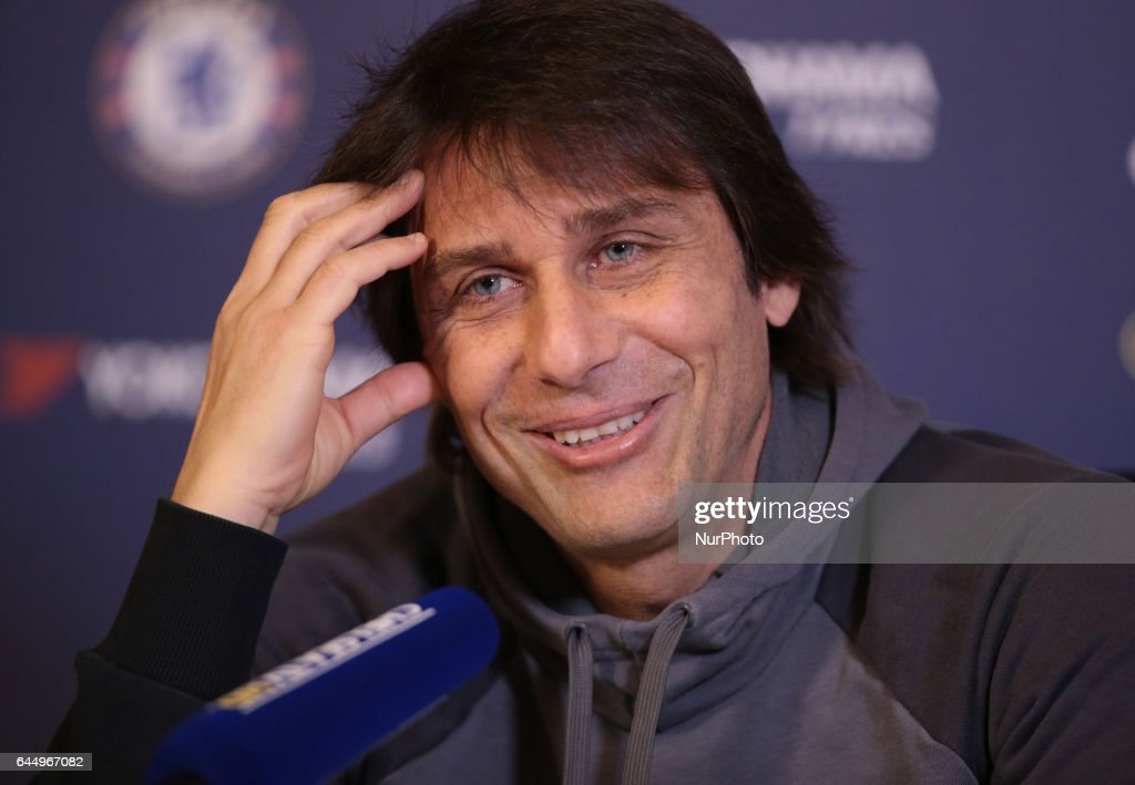 Antonio Conte, manager of Chelsea during a press conference at Cobham Training Ground on February 24, 2017 in Cobham, England.