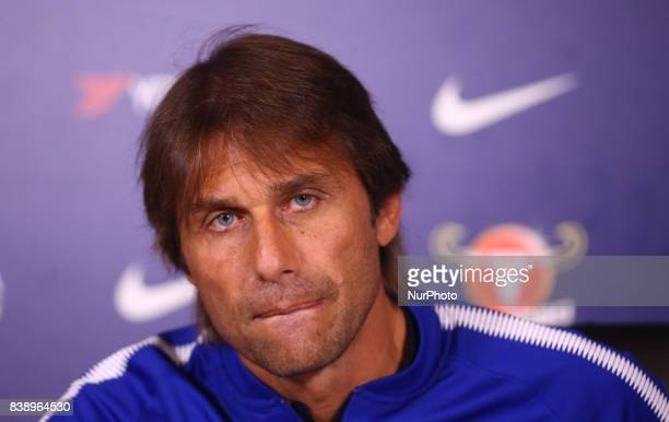 Antonio Conte manager of Chelsea during a press conference at Cobham Training Ground on 25 August 2017 in Cobham England