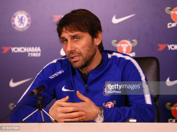 Antonio Conte manager of Chelsea during a press conference at Cobham Training Ground on 02 Feb 2018 in Cobham England