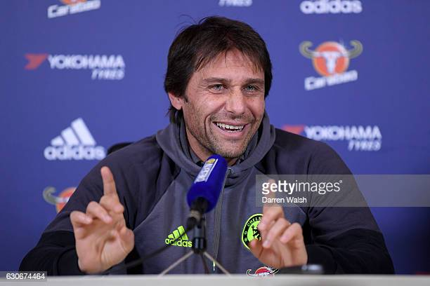 Antonio Conte manager of Chelsea during a press conference on December 30 2016 in Cobham England